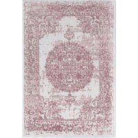 Little Seeds Serenity Emblem Ivory and Pink Area Rug, 5 x 7