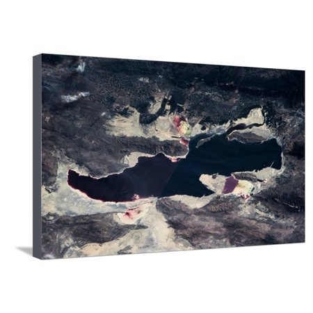 Satellite view of Great Salt Lake and salt flats, Utah, USA Stretched Canvas Print Wall