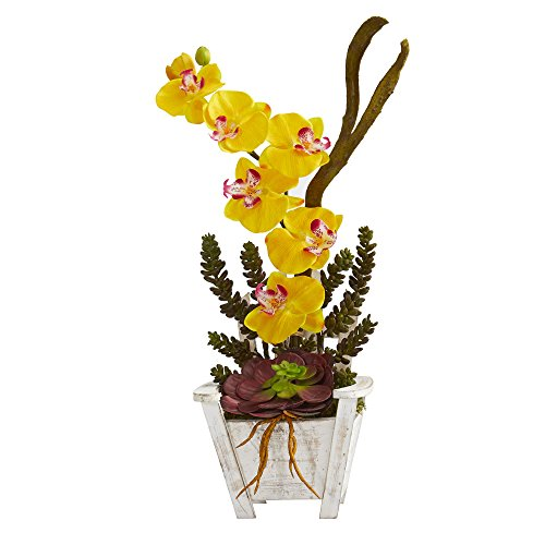 Nearly Natural artificial indoor Phalaenopsis Orchid & Succulent Artificial Arrangement in Chair Planter Yellow