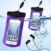 GEARONIC Color Waterproof Pouch Dry Bag Protector Skin Case Cover w/ Arm Band + Mic Earphone for Apple iPhone 4 4S 5 5S Galaxy S4 - Purple