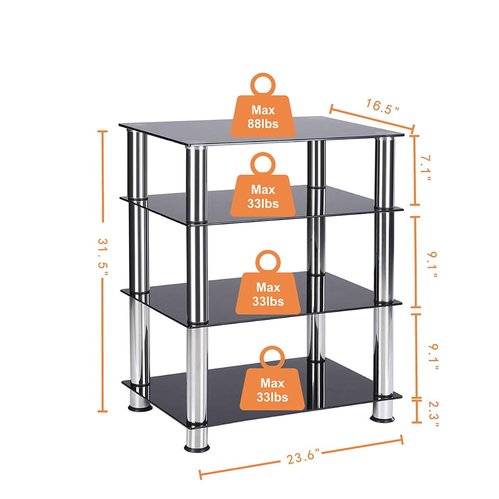 TAVR Furniture 4 Tier Media Component Stand Audio Cabinet HIFI Rack With  Glass Shelf Storage