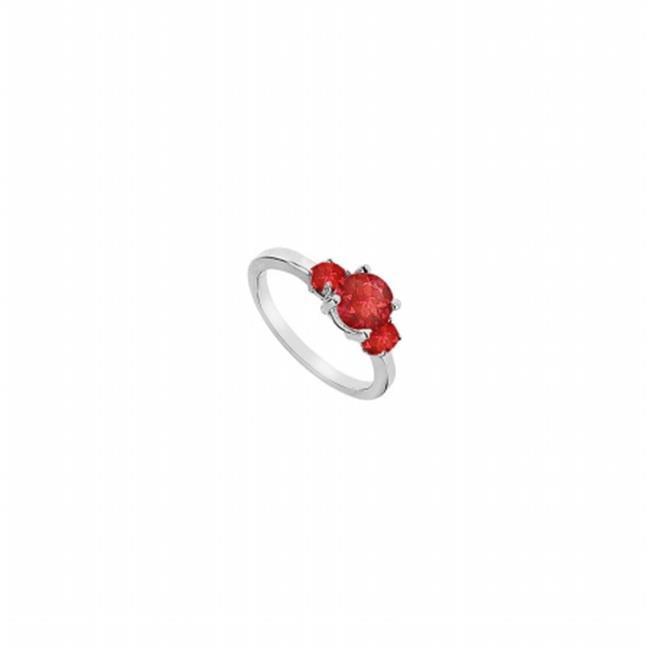 Fine Jewelry Vault UBUJ2437AGR Three Stone GF Bangkok Ruby Engagement Ring in 925 Sterling Silver - 1.25 CT TGW