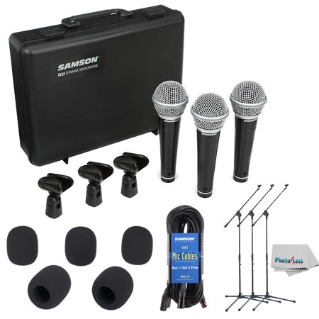 Samson R21 Dynamic Vocal Mic 3-Pk w/Case & Mic Clips + 3 Stands + Cables & More