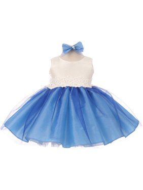 c506c515c62 Product Image Good Girl Baby Girls Royal Blue Off-White Tulle Adorned  Flower Girl Dress 6-