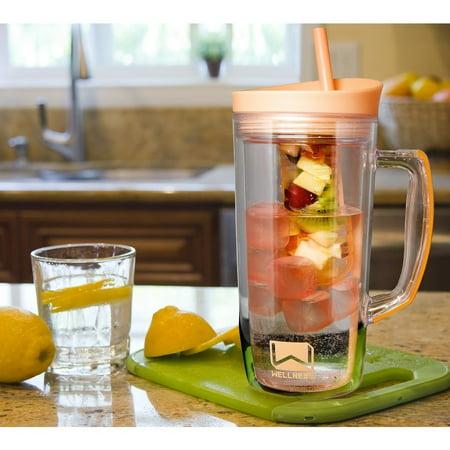 Mason Jar Mug Water Bottle w/Handle, Bpa Free Straw & Ice,Fruit Infuser - Lilac](Mason Bottles)