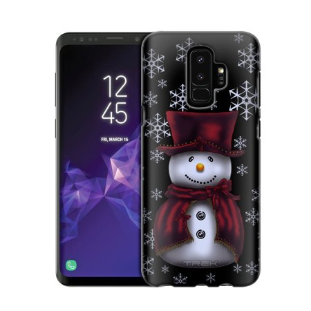 Samsung Galaxy S9 Plus Snowman in Red on Black Case - Monogrammed Stocking