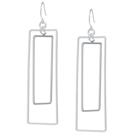 Lily Maris Silver Tone Open Rectangle Earrings Silver tone (Open Rectangle Earrings)