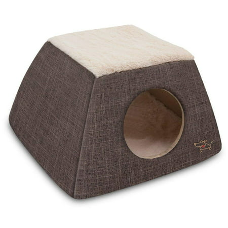 2-in-1 Cat Bed and Cave - with Plush Lining by Best Pet Supplies, Small, Dark (Best Bed Liner For The Money)