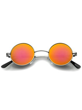 608896088147 Product Image sunglassLA - Small Retro Lennon Style Colored Mirror Lens  Round Metal Sunglasses 41mm - 41mm