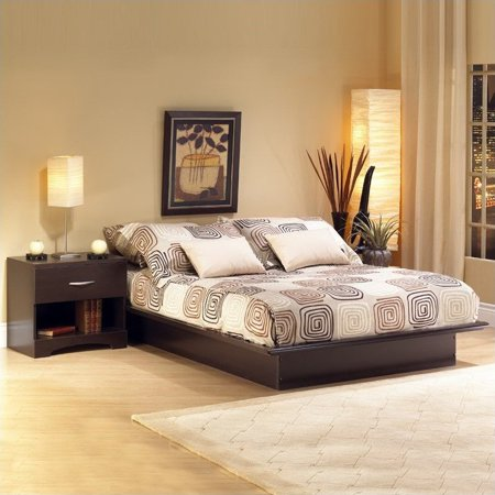 South shore back bay dark chocolate wood platform bed 4 - South shore 4 piece bedroom furniture set ...