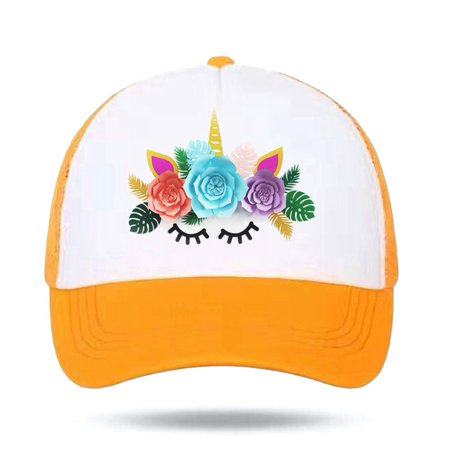 KABOER Kids Girls Cute Unicorn Pattern Mesh Baseball Cap Hat Adjustable Cap