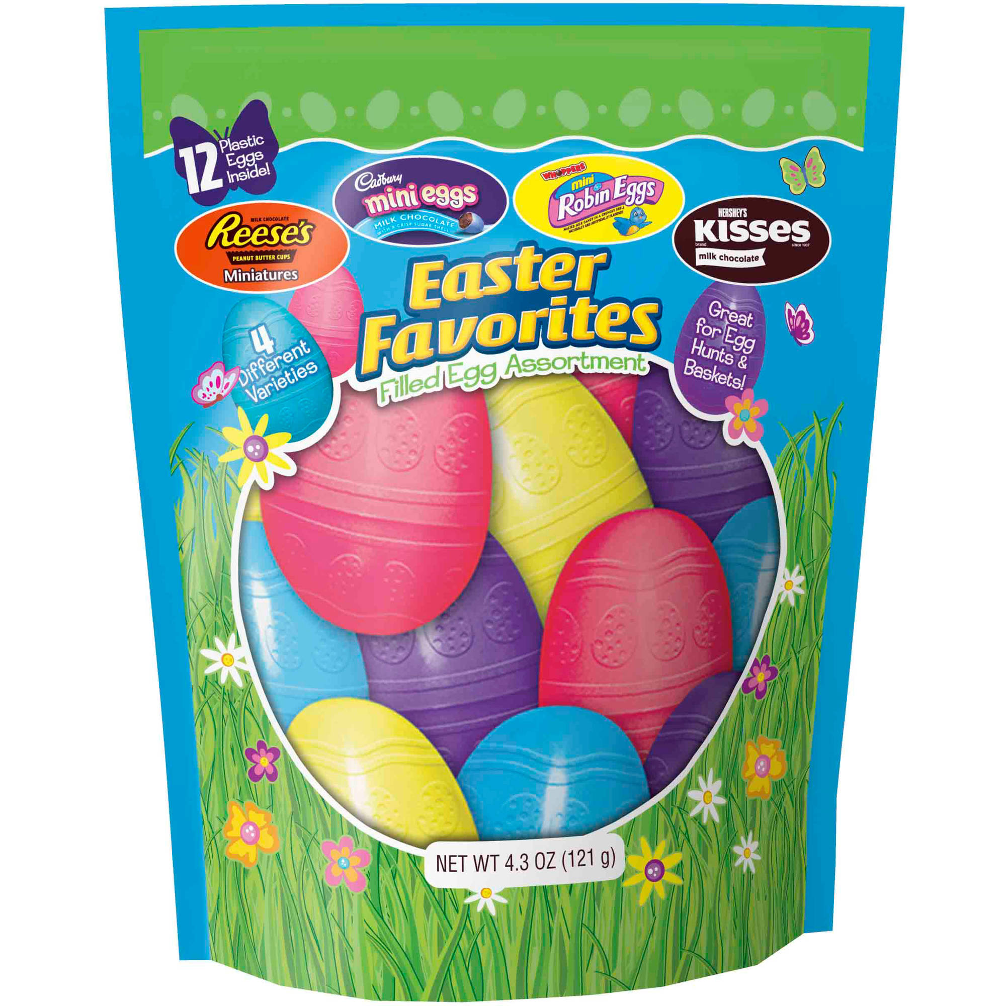 Hershey's Chocolate Filled Plastic Easter Egg Assortment Candy, 4.3 oz