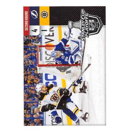 Bruins Hockey Card (2018-19 Panini NHL Stickers #554 Tampa Bay Lightning vs. Boston Bruins Hockey Card )