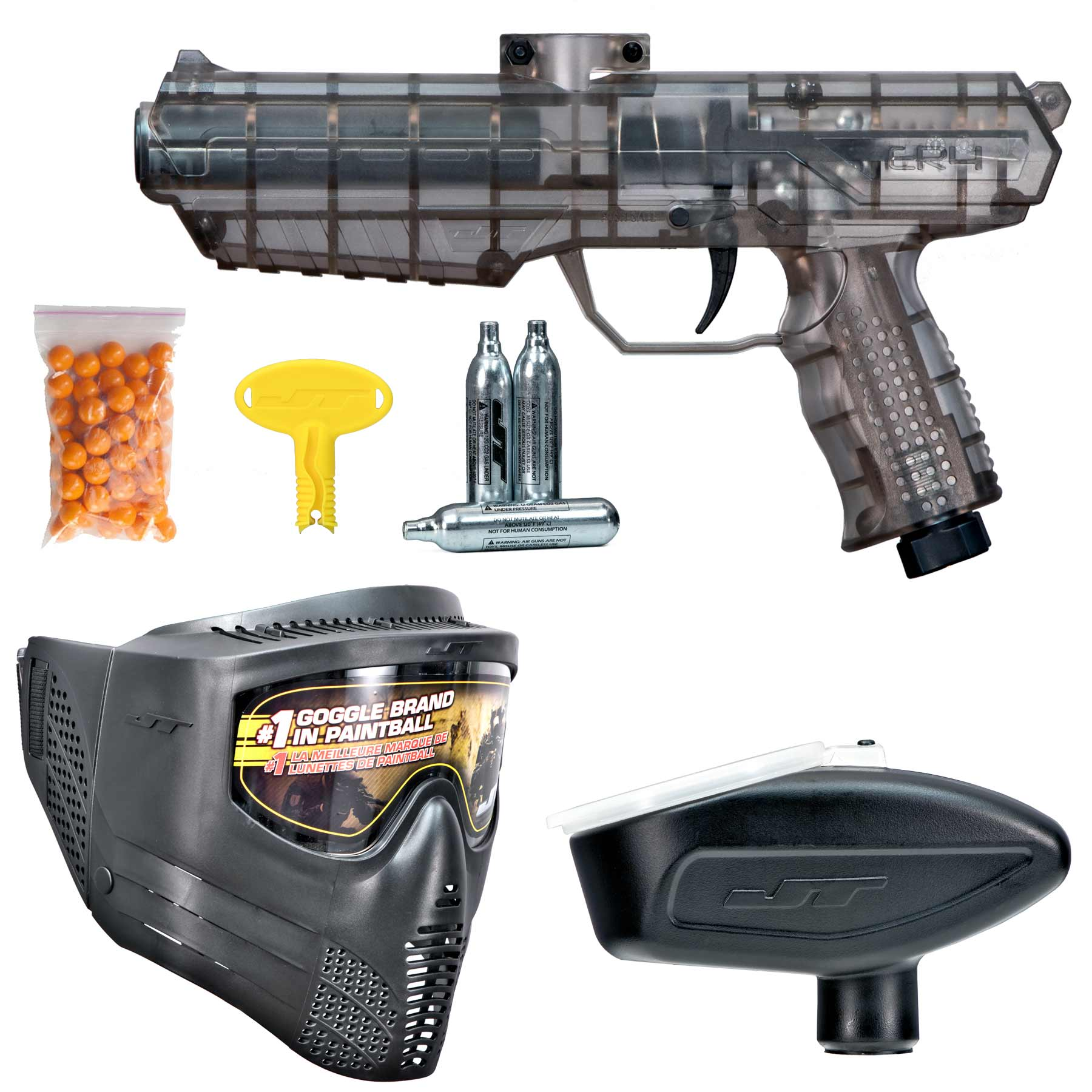 JT ER4 RTP .68 cal Paintball Kit w/ Goggle, Co2, Hopper, & Paintballs