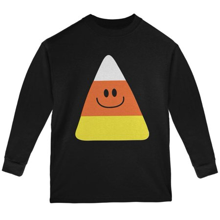Halloween Candy Corn Costume Black Youth Long Sleeve T-Shirt](Halloween Popcorn Candy Corn Hands)
