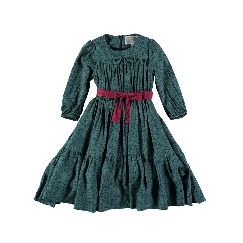 Rockin' Baby Girls Teal Ditsy Print Gathered Dress