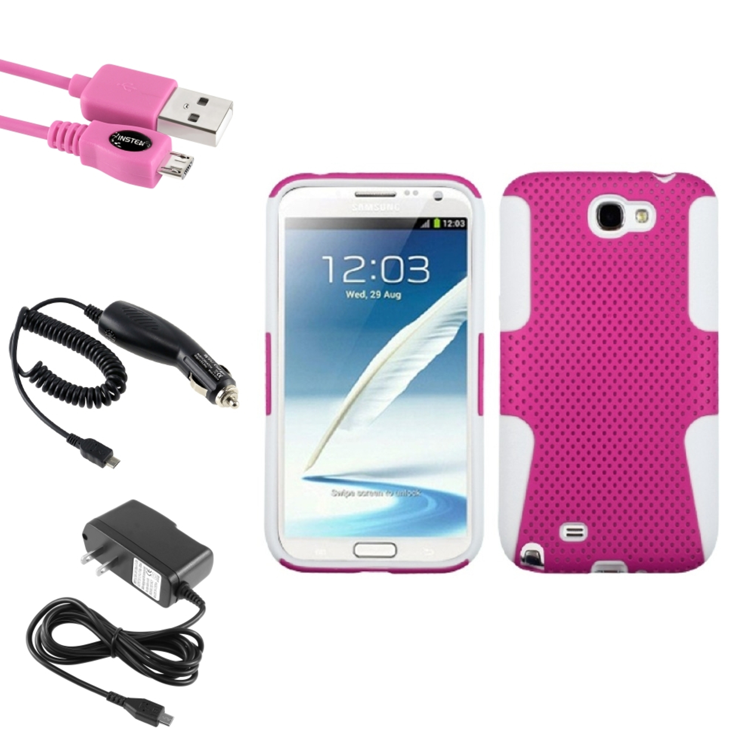 Insten White/Pink Hybrid Case 2x Charger USB For Samsung Galaxy Note 2 II