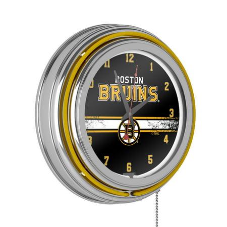 NHL Chrome Double Rung Neon Clock - Boston Bruins�