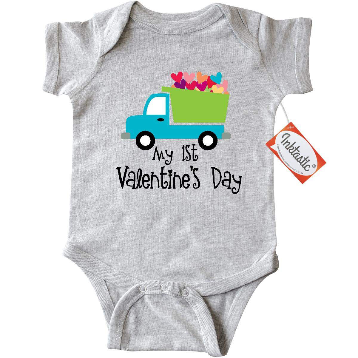 Inktastic 1st Valentines Day Hearts Infant Creeper Baby Bodysuit babys first valentine kids cute love holiday truck boys gift one-piece hws