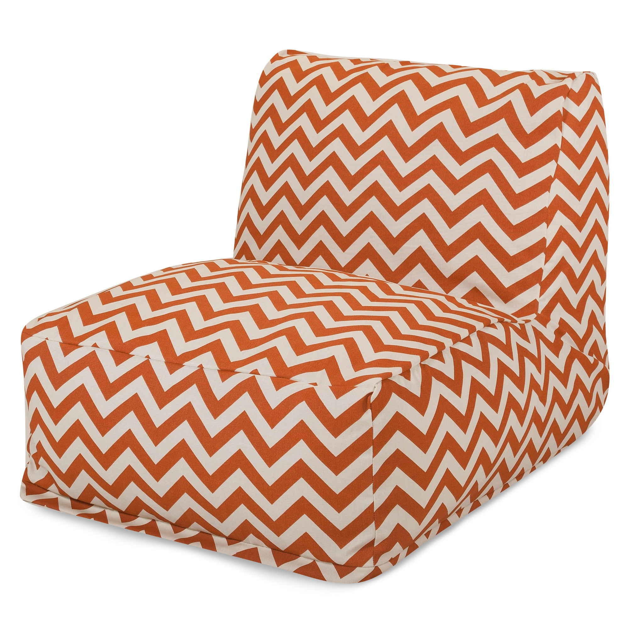 Majestic Home Goods Indoor Outdoor Black Chevron Chair Lounger Bean Bag 36 in L x 27 in W x 24 in H