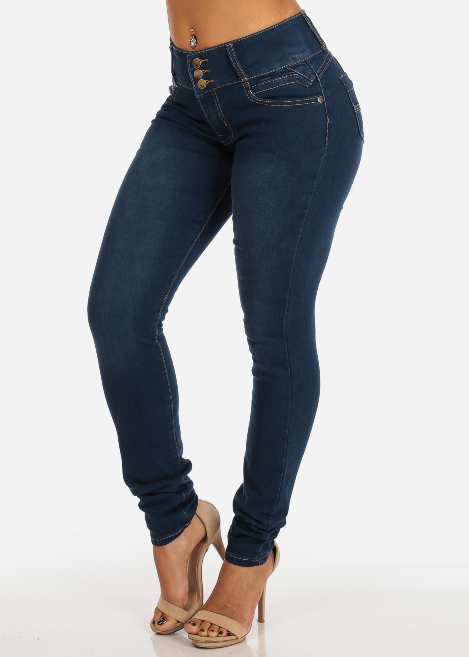 Womens Juniors Colombian Design Levanta Cola PUSH UP Butt Lifting 3 Button Mid Rise Med Wash Stretchy Casual Skinny Jeans 10982V
