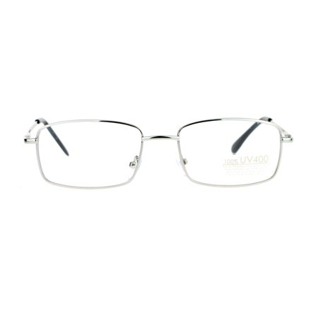 SA106 Mens Snug Minimal Narrow Rectangular Metal Rim Eyeglasses (Silver Eyeglasses)