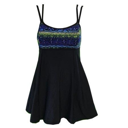 Womens Blue Tribal Double Strap One Piece Swim Dress Plus Size 18W-24W Adult