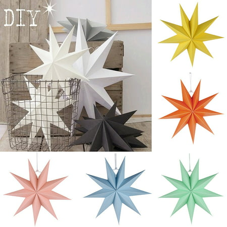 Girl12Queen 30cm Nine-pointed Star Paper Hanging Decoration for Kids Room Party Classroom