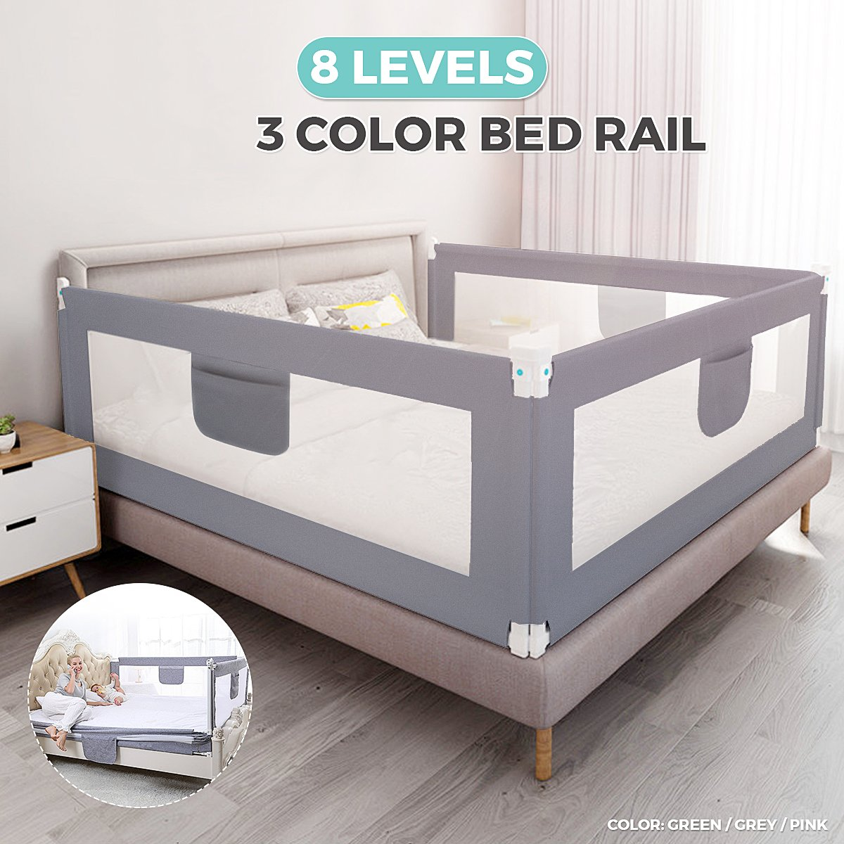 180cm Bed Rail Foldable Children Bed Rail Home Kids Adults Easy to Assemble Senior Bed Safety Rail