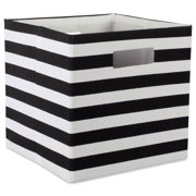 """DII Hard Sided Collapsible Fabric Storage Container for Nursery, Offices, & Home Organization, Containers Are Made To Fit Standard Cube Organizers (13x13x13"""") - Stripe Black"""
