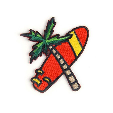"Palm Surf Summer Embroidered 2"" x 2.62"" logo Sew or Iron-on Backing Patch"