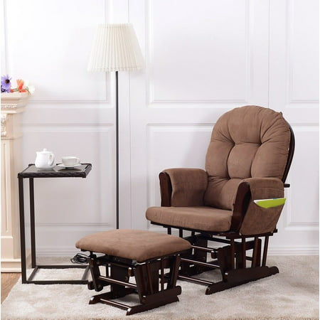 Costway Baby Nursery Relax Rocker Rocking Chair Glider Ottoman Set W Cushion Espresso