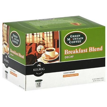 Green Mountain Coffee Roasters Breakfast Blend Light Roast Decaf K-Cups Coffee, 4.02 oz, 12ct (Pack of 6)