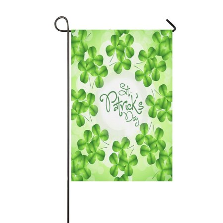 MYPOP Happy St Patricks Day Lucky Clover Garden Flag 12x18 inches Outdoor Decor