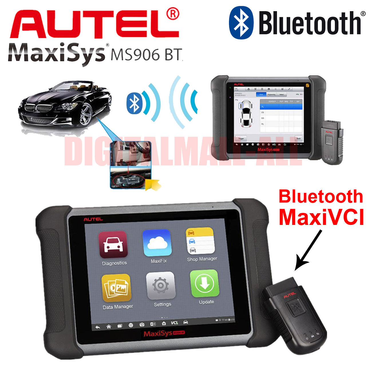 Autel MaxiSys MS906TS OBD2 Automotive Diagnostic Scan Tool TPMS Programming Bluetooth Key Coding Auto Diagnostic Scanner Tool