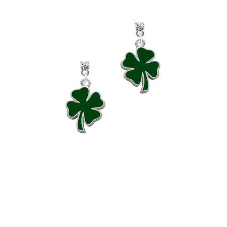 Silvertone Two Sided Green Enamel Lucky Four Leaf Clover Clear Crystal Post - Enamel Crystal Leaf