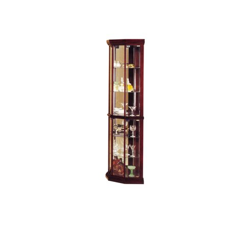 ACME Huxley Corner Curio Cabinet, Cherry (Dining Room Set Curio Cabinet)
