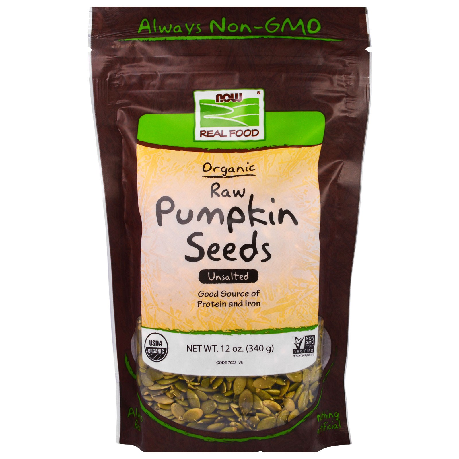 Now Foods, Real Food, Organic, Raw Pumpkin Seeds, Unsalte...