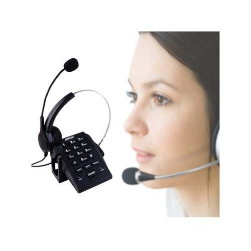 AGPtek Dialpad Monaural Corded Noise Cancelling Headset Headphone Telephone Call Centerwith Tone Dial Key Pad REDIAL