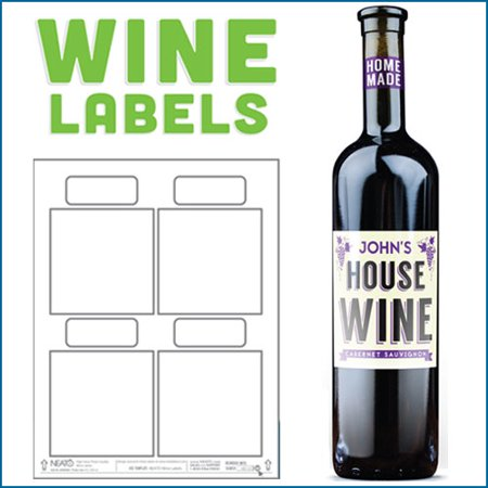 Blank Wine Labels - High Gloss - Water Resistant - White - For Inkjet Printers - 40 Labels - 10
