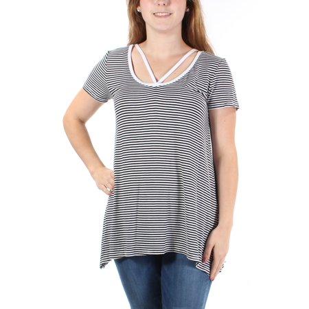 ULTRA FLIRT Womens Black Striped Short Sleeve Grecian Neckline Trapeze Top  Size: - Grecian Attire