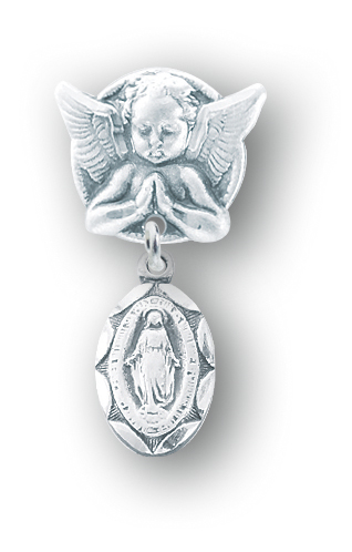 Sterling Silver Oval Scallop Edged Miraculous Baby Medal on an Angel Pin by