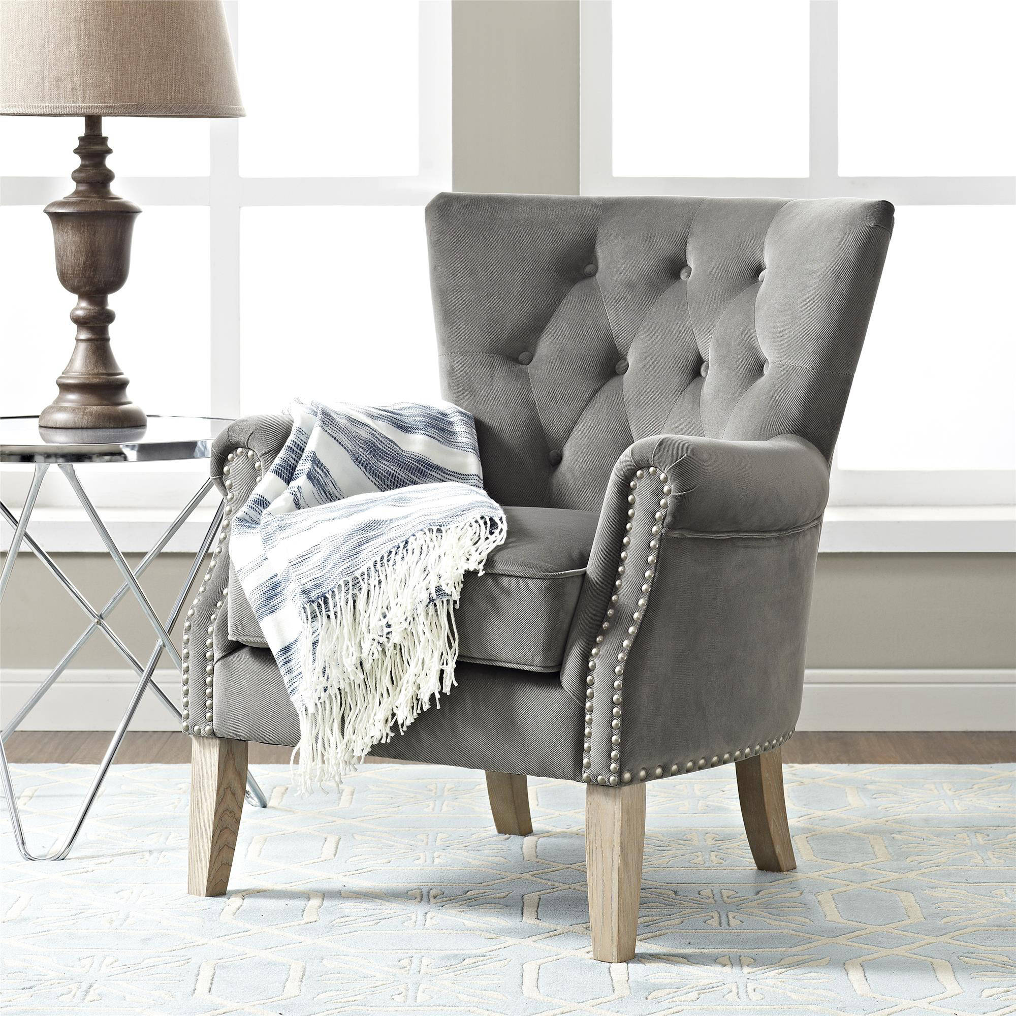 Product Image Better Homes u0026 Gardens Rolled Arm Accent Chair Multiple Colors & Accent Chairs - Walmart.com