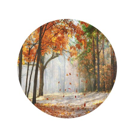JSDART 60 inch Round Beach Towel Blanket Brown Falling Oak Leaves Scenic Autumn Forest by Morning Travel Circle Circular Towels Mat Tapestry Beach Throw - image 1 de 2