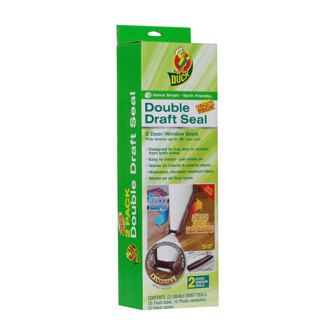 Duck Brand Double Draft Door Seal, Brown, 2-Pack