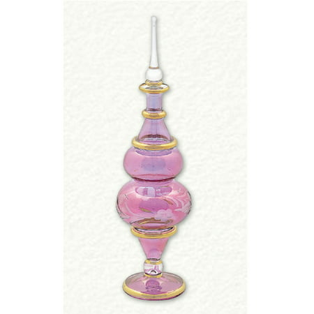 Purple Floral Etched Egyptian Blown Glass Perfume Bottle Made in Egypt New Hand Blown Glass Perfume Bottle