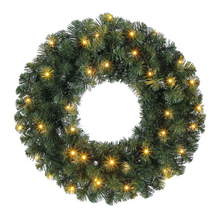Holiday Time Prelit Green Norway Artifical Christmas Wreath, 24 in ()