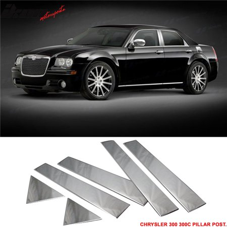 Fits 05-10 Chrysler 300 300C Chrome Door Pillar Post Trim 6 Pcs Stainless Steel 08 Chrome Door Pillars Posts