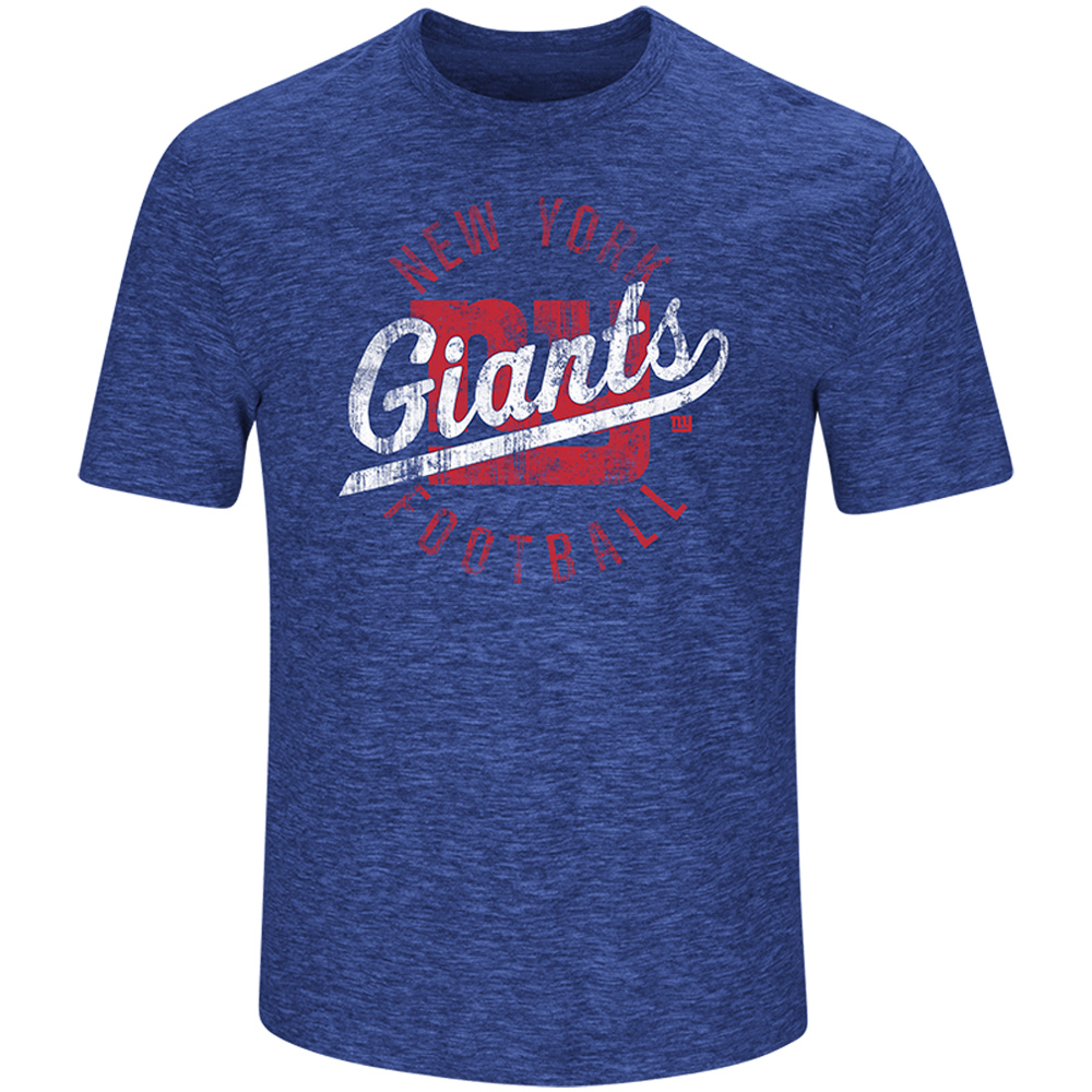 New York Giants Majestic Hyper Stack Slub T-Shirt - Heathered Royal