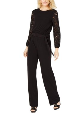MICHAEL Michael Kors Womens Jersey Lace Sleeves Jumpsuit